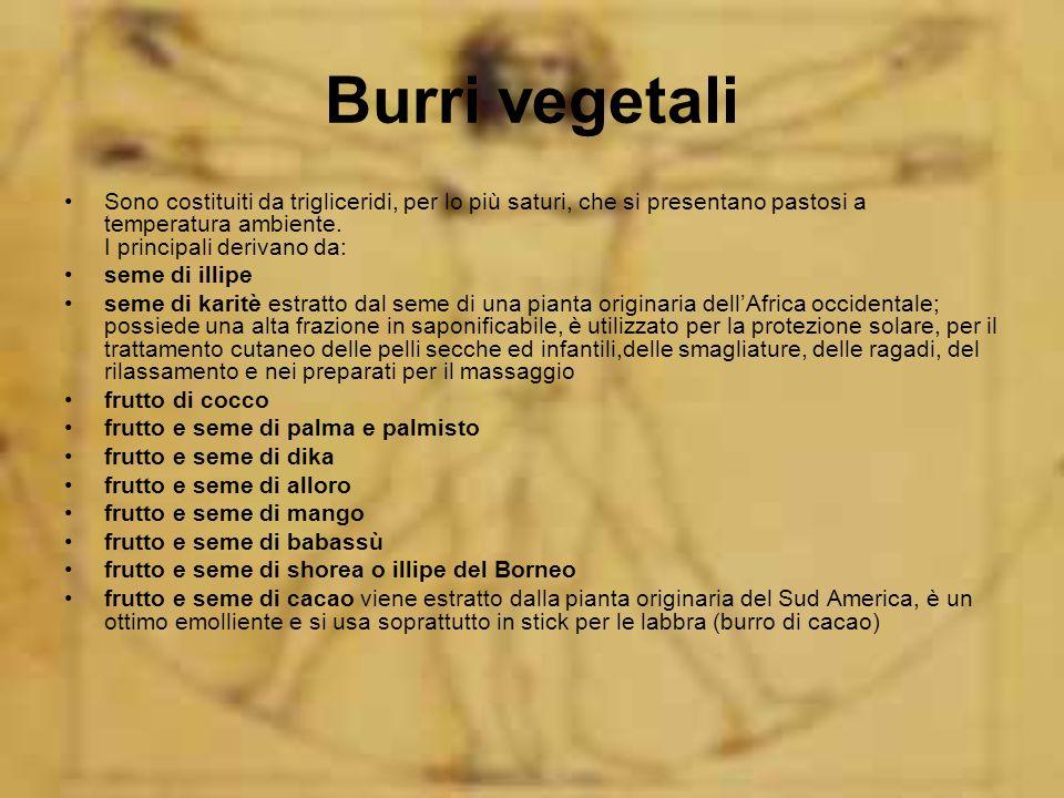 Burri vegetali Sono costituiti da trigliceridi, per lo più saturi, che si presentano pastosi a temperatura ambiente. I principali derivano da: