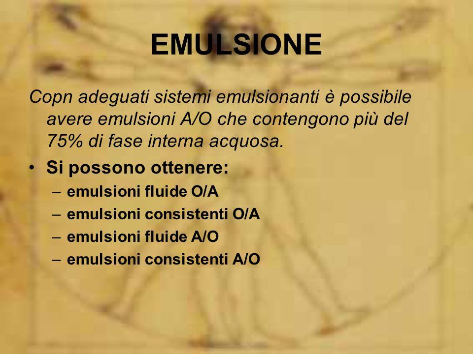 EMULSIONE Copn adeguati sistemi emulsionanti è possibile avere emulsioni A/O che contengono più del 75% di fase interna acquosa.