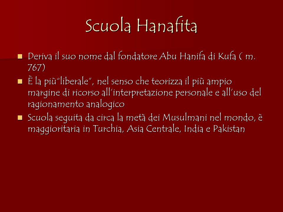 Scuola Hanafita Deriva il suo nome dal fondatore Abu Hanifa di Kufa ( m. 767)