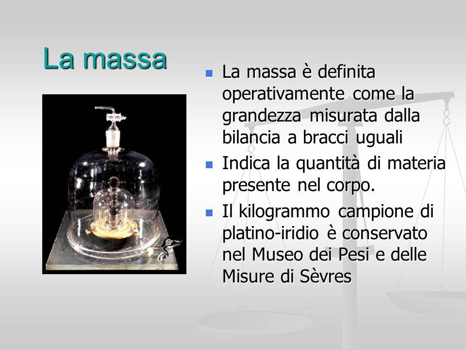 La massa La massa è definita operativamente come la grandezza misurata dalla bilancia a bracci uguali.