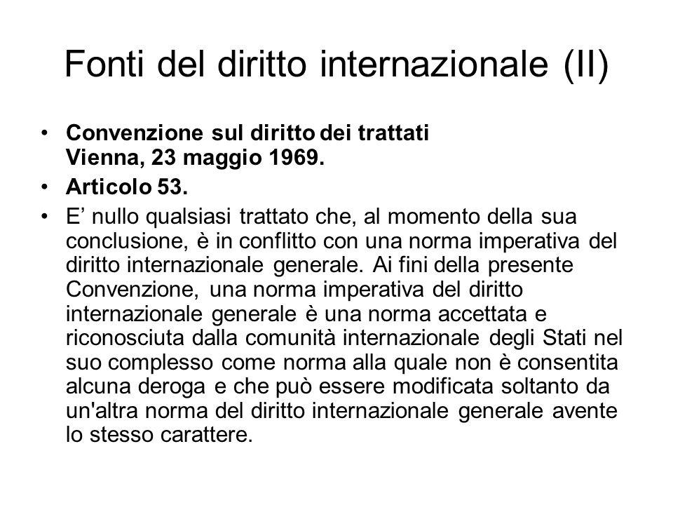 Fonti del diritto internazionale (II)