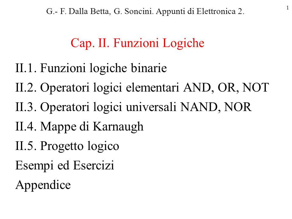 Cap. II. Funzioni Logiche