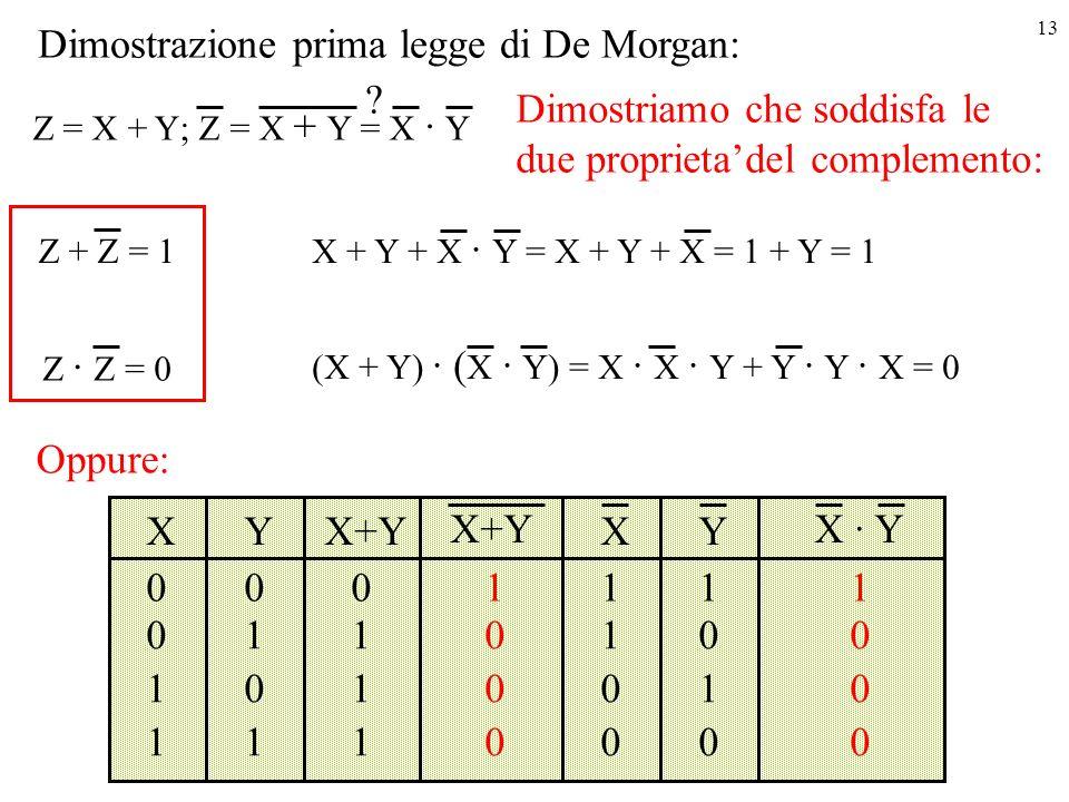 Dimostrazione prima legge di De Morgan: Dimostriamo che soddisfa le