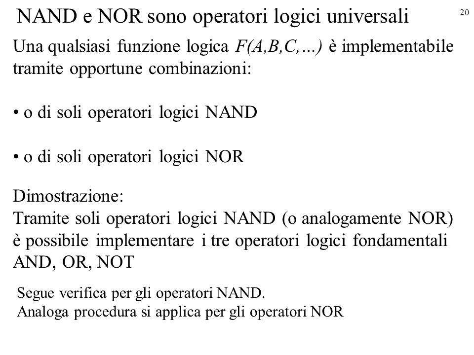 NAND e NOR sono operatori logici universali