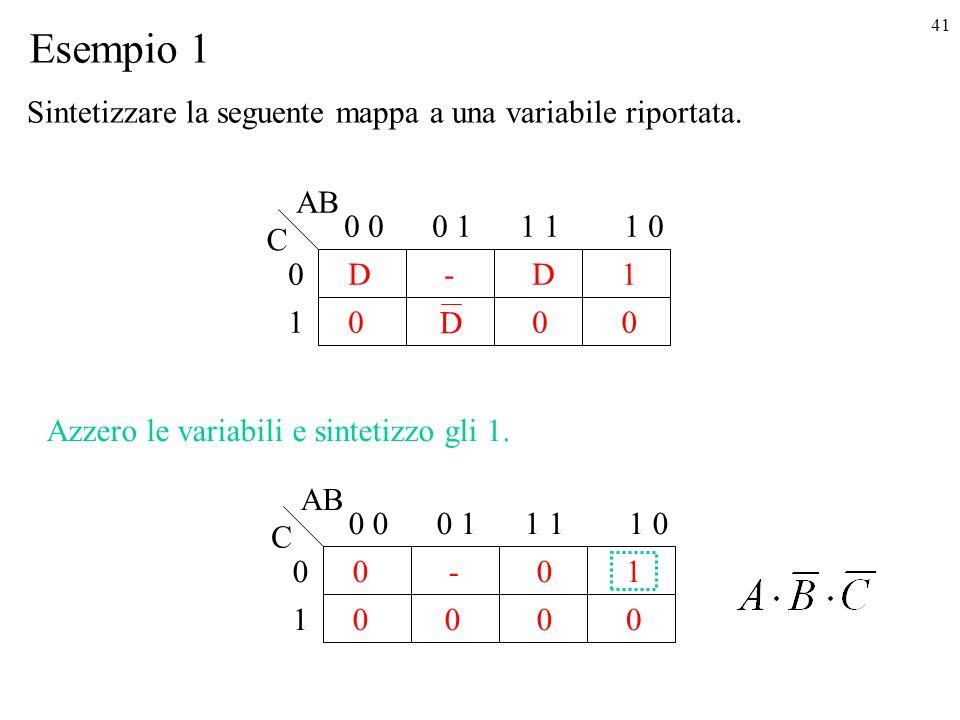 Esempio 1 Sintetizzare la seguente mappa a una variabile riportata. AB