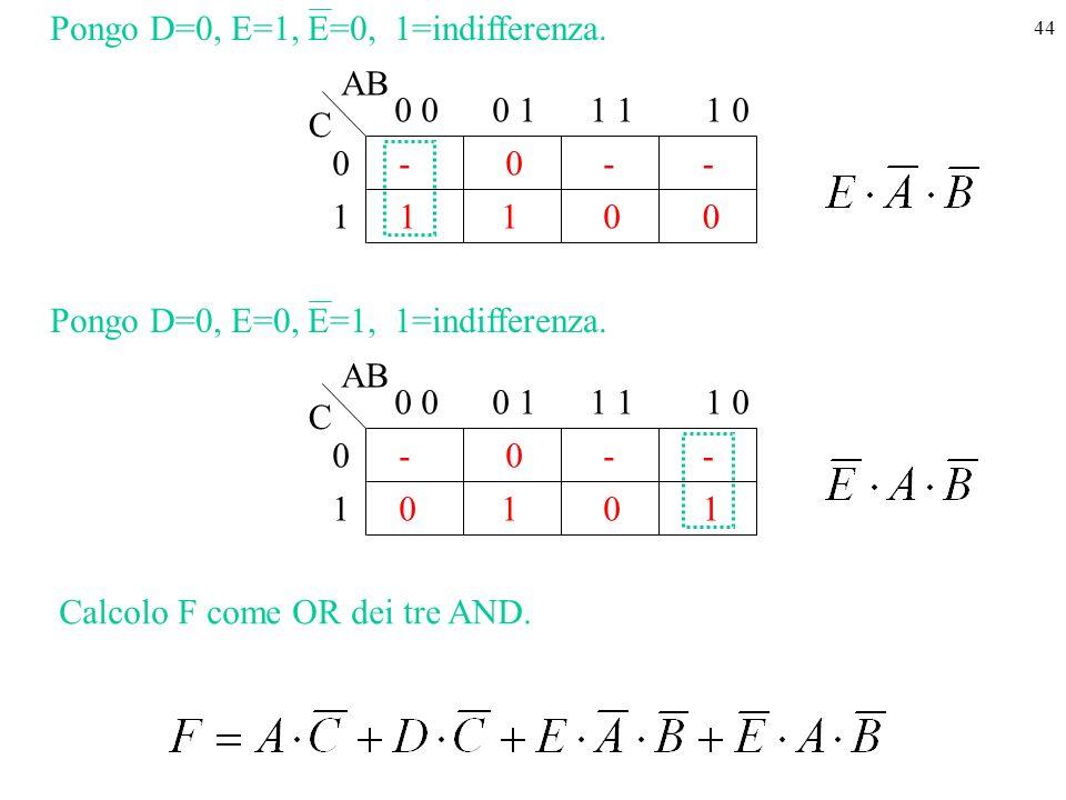 Pongo D=0, E=1, E=0, 1=indifferenza.