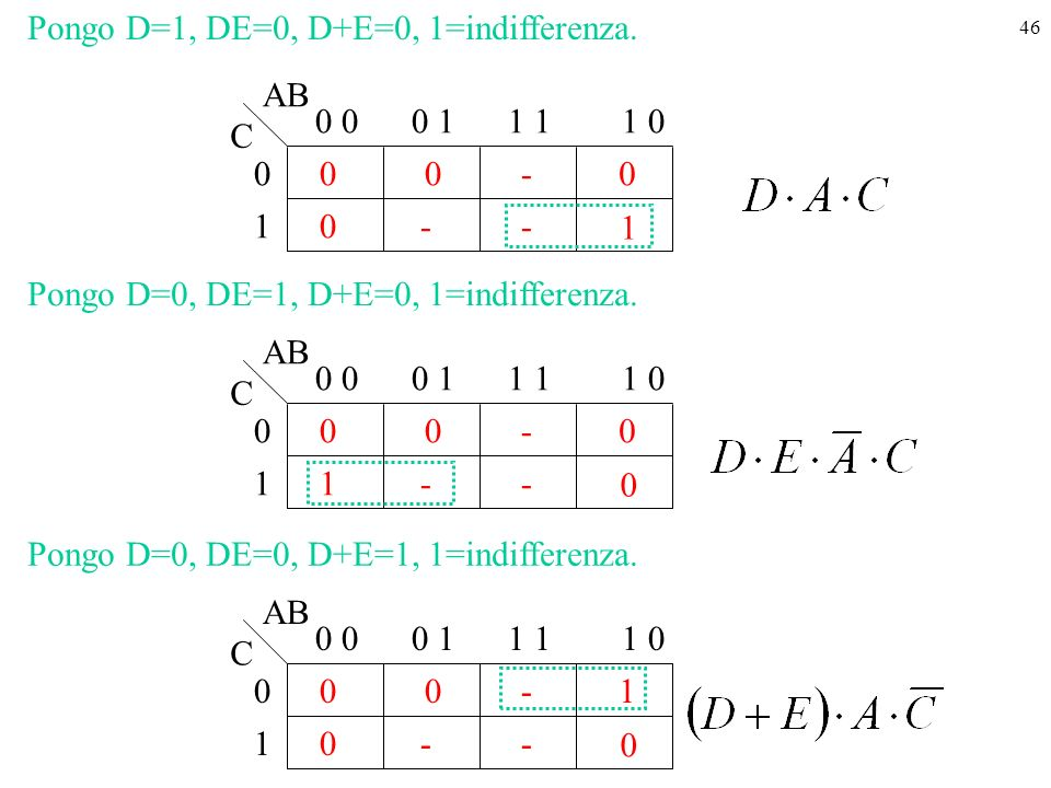 Pongo D=1, DE=0, D+E=0, 1=indifferenza.