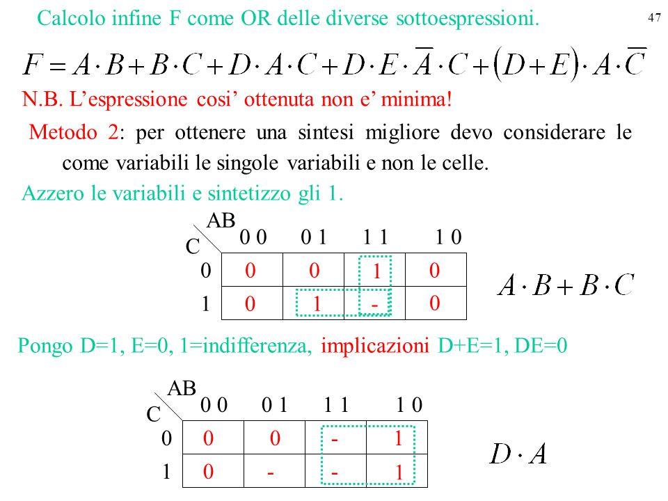 Calcolo infine F come OR delle diverse sottoespressioni.
