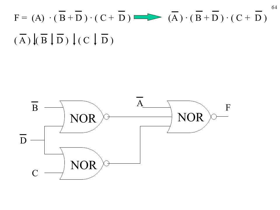 F = (A) · ( B + D ) · ( C + D ) (A ) · ( B + D ) · ( C + D )