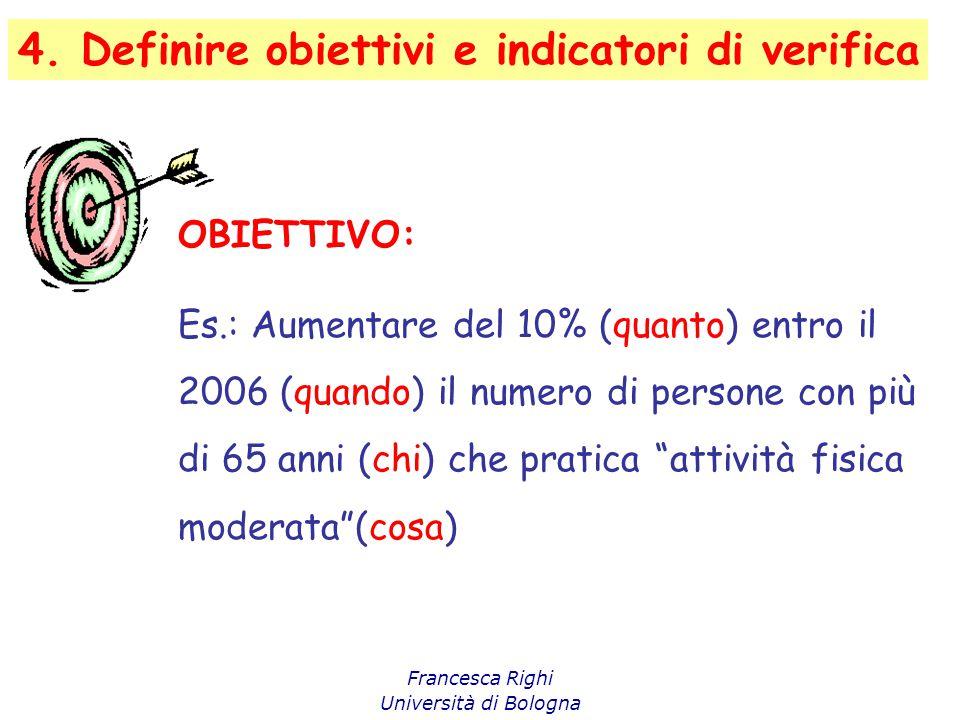 4. Definire obiettivi e indicatori di verifica