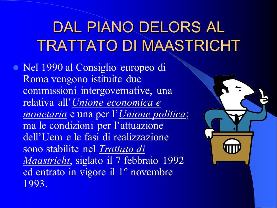 DAL PIANO DELORS AL TRATTATO DI MAASTRICHT