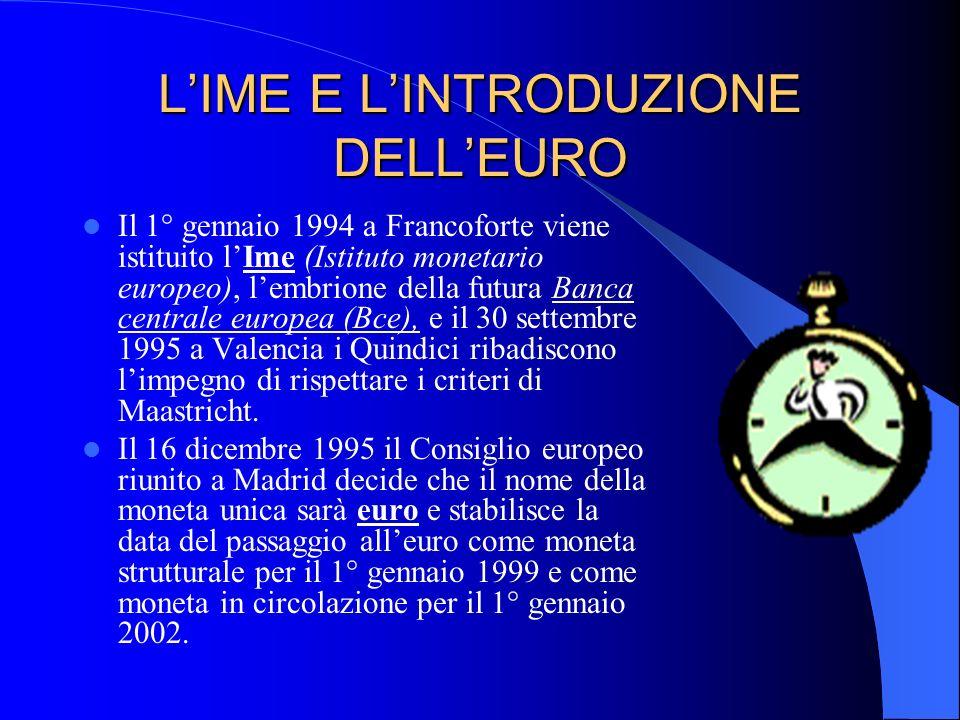 L'IME E L'INTRODUZIONE DELL'EURO