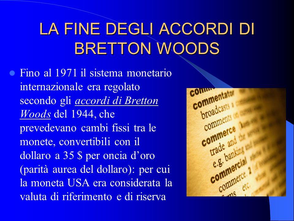 LA FINE DEGLI ACCORDI DI BRETTON WOODS