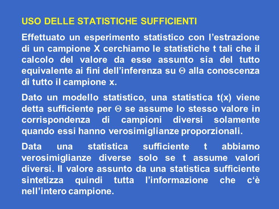 USO DELLE STATISTICHE SUFFICIENTI