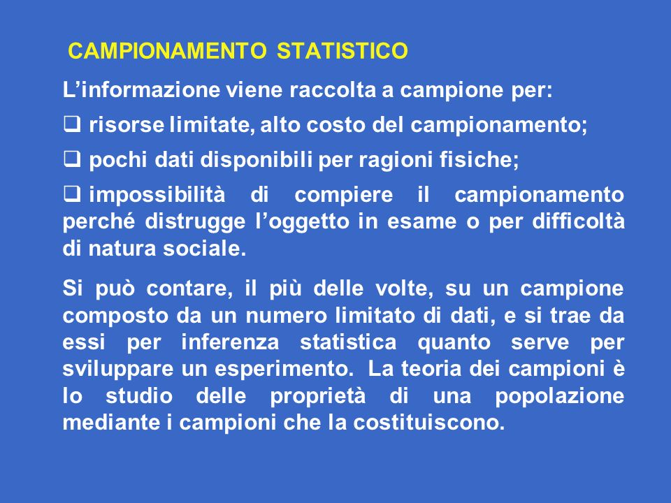 CAMPIONAMENTO STATISTICO