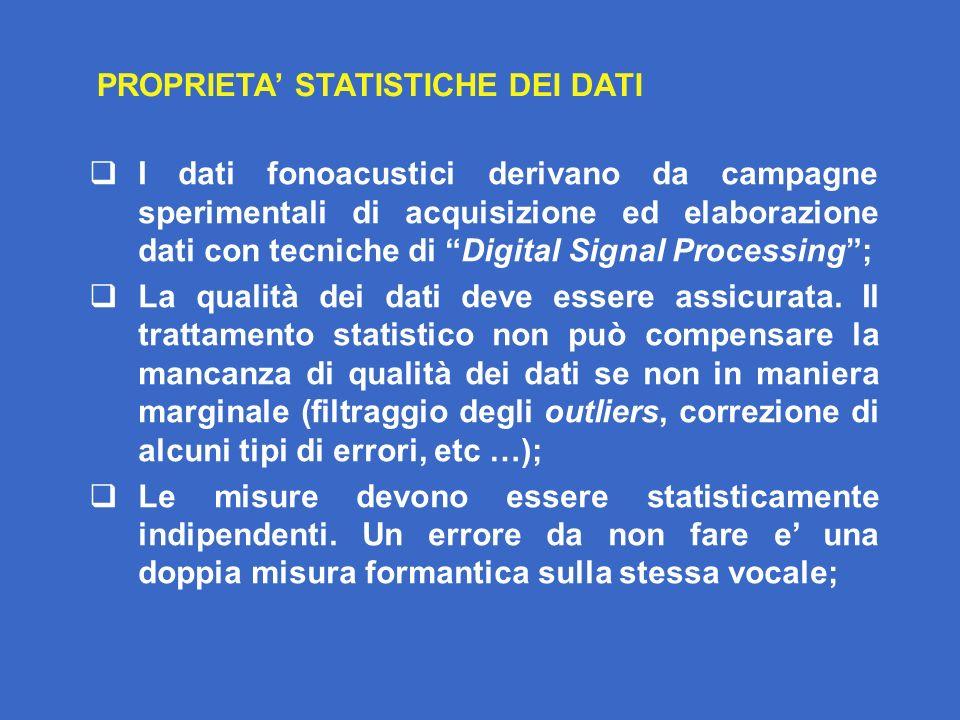 PROPRIETA' STATISTICHE DEI DATI