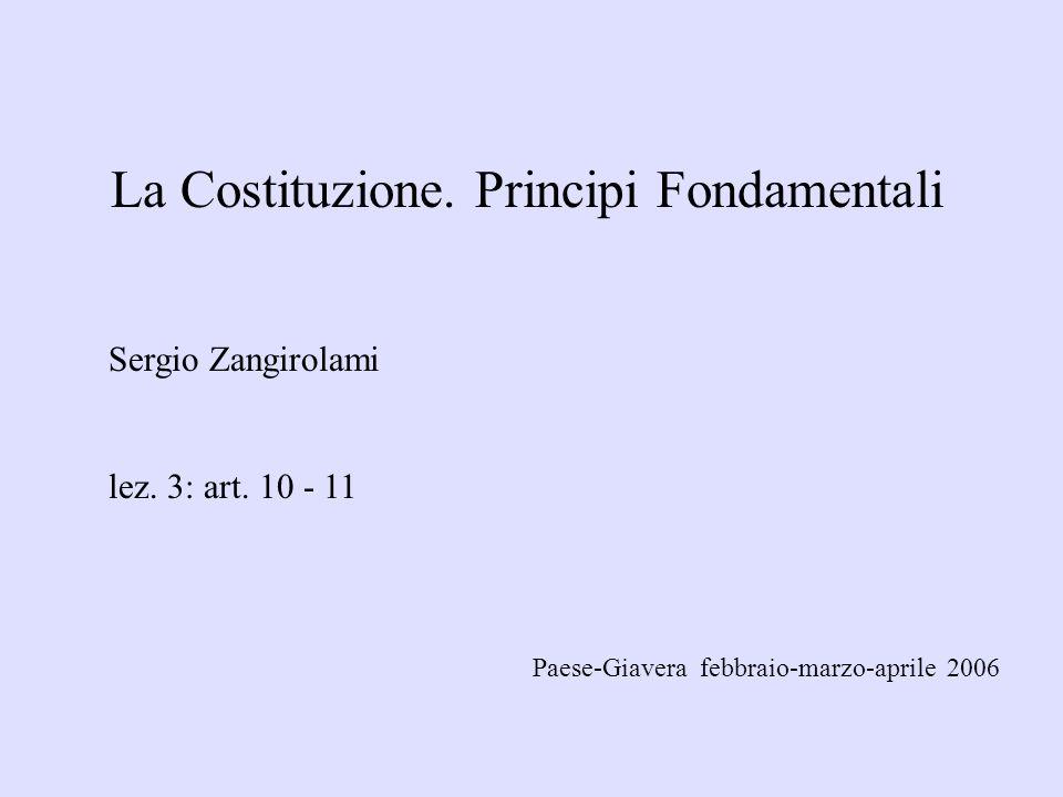 La Costituzione. Principi Fondamentali