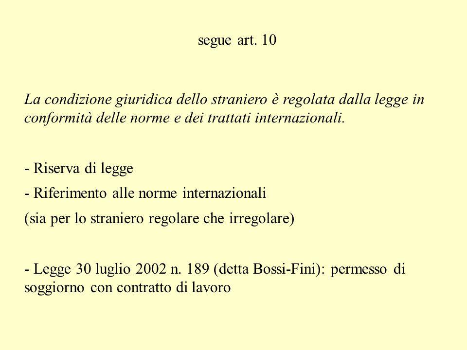 segue art. 10 La condizione giuridica dello straniero è regolata dalla legge in conformità delle norme e dei trattati internazionali.