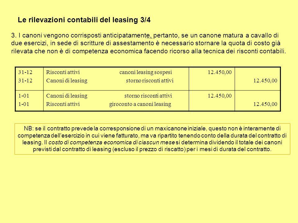 Le rilevazioni contabili del leasing 3/4