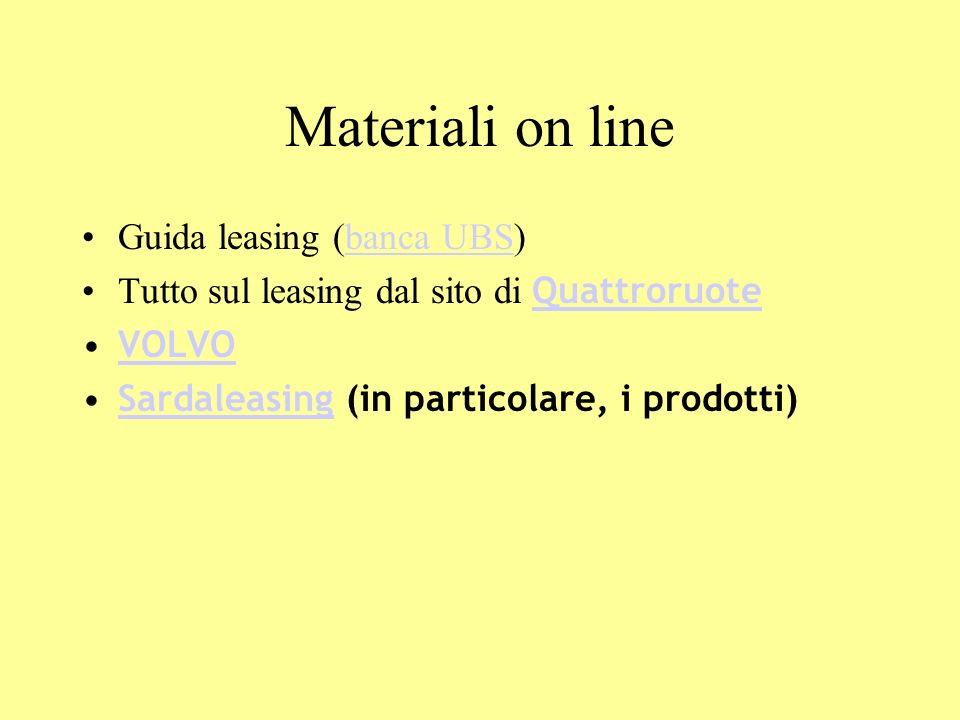 Materiali on line Guida leasing (banca UBS)