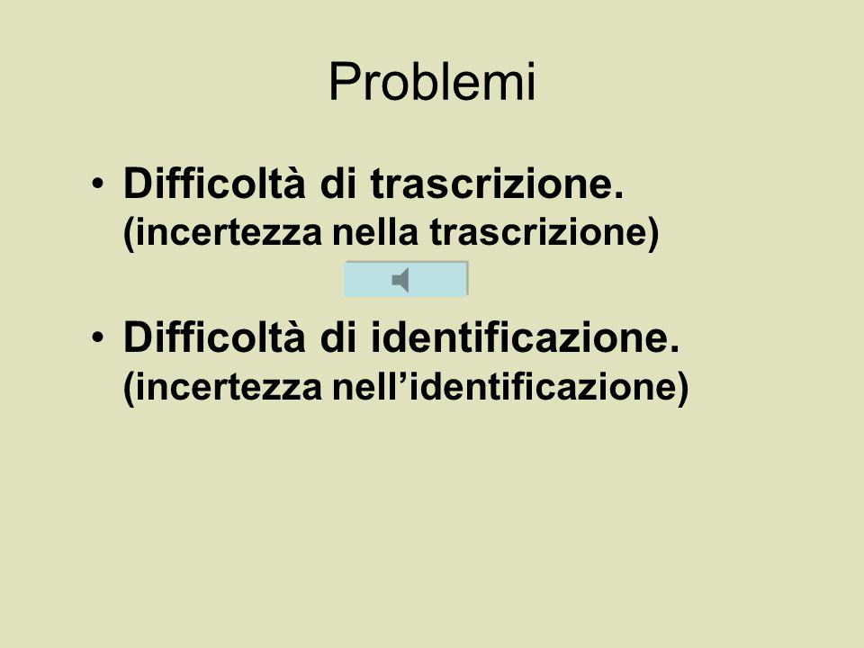Problemi Difficoltà di trascrizione. (incertezza nella trascrizione)