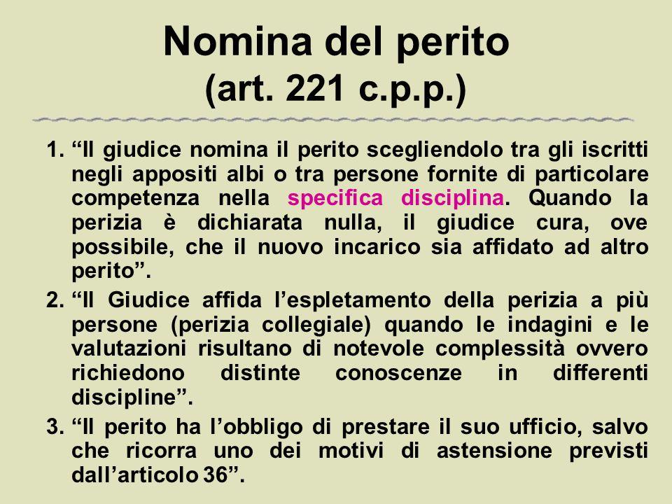 Nomina del perito (art. 221 c.p.p.)