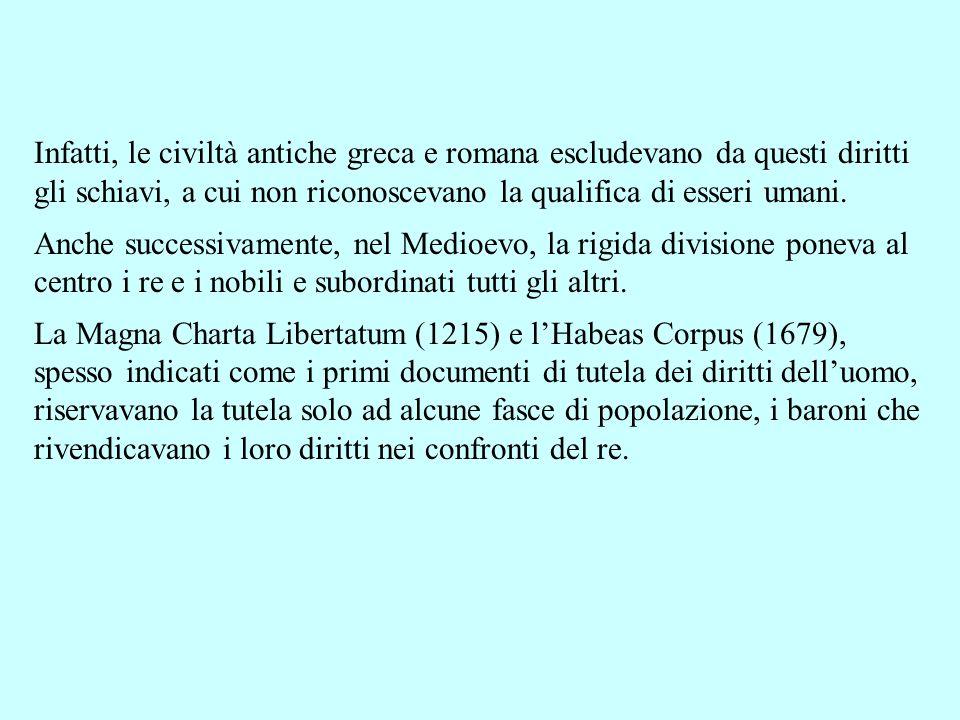 Infatti, le civiltà antiche greca e romana escludevano da questi diritti gli schiavi, a cui non riconoscevano la qualifica di esseri umani.
