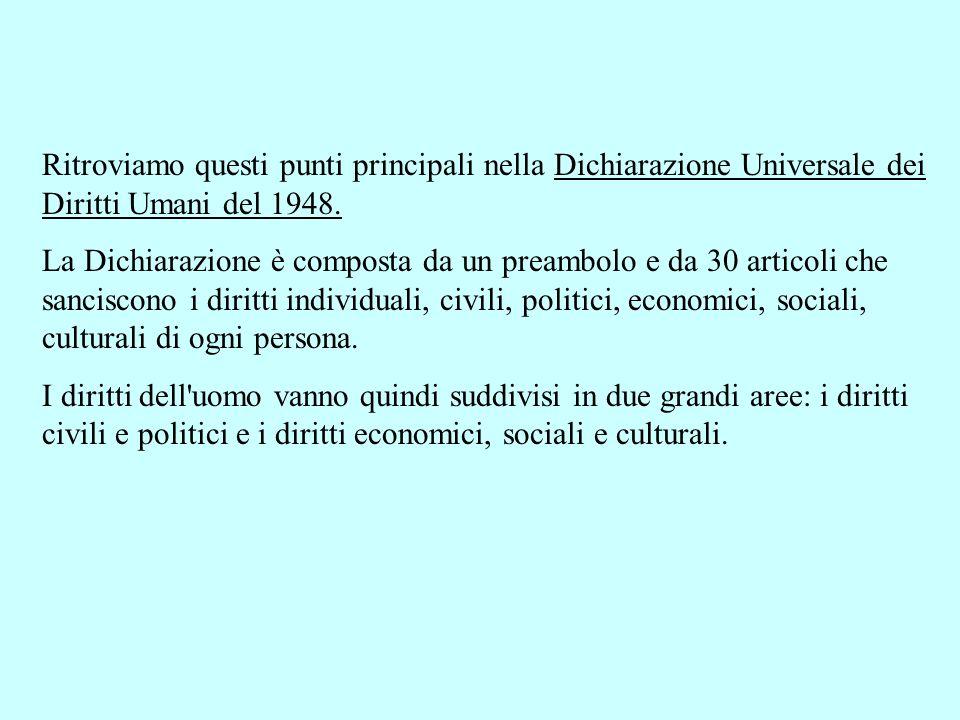 Ritroviamo questi punti principali nella Dichiarazione Universale dei Diritti Umani del 1948.