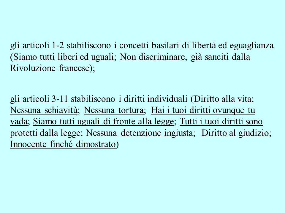 gli articoli 1-2 stabiliscono i concetti basilari di libertà ed eguaglianza (Siamo tutti liberi ed uguali; Non discriminare, già sanciti dalla Rivoluzione francese);