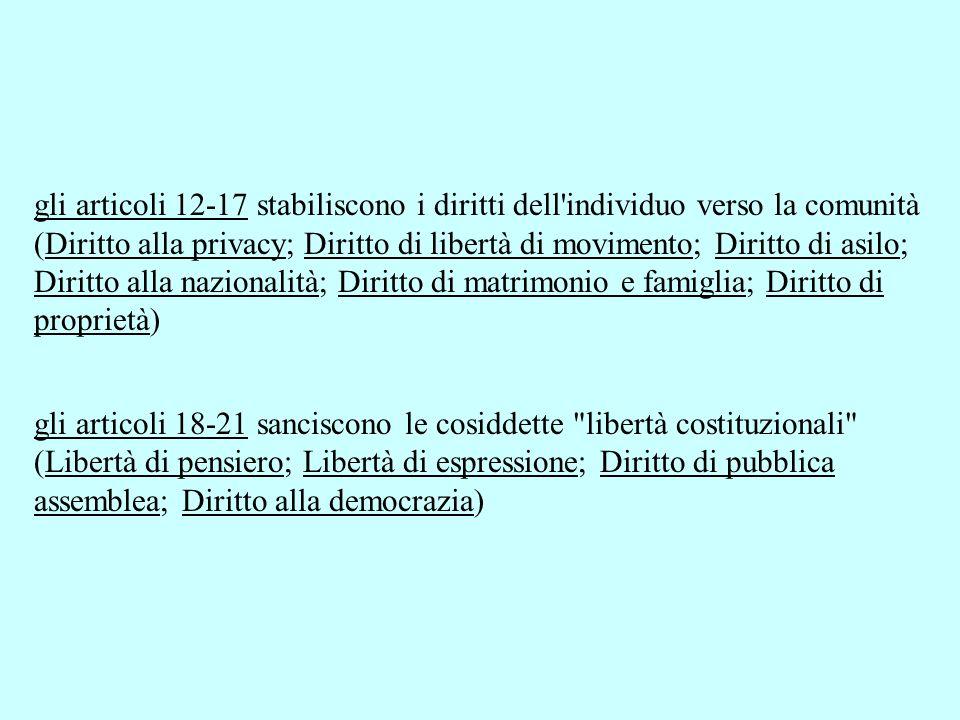 gli articoli 12-17 stabiliscono i diritti dell individuo verso la comunità (Diritto alla privacy; Diritto di libertà di movimento; Diritto di asilo; Diritto alla nazionalità; Diritto di matrimonio e famiglia; Diritto di proprietà)