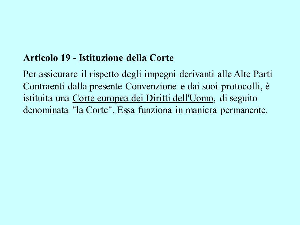 Articolo 19 - Istituzione della Corte