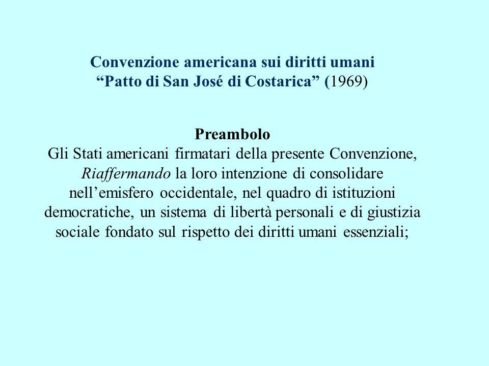 Convenzione americana sui diritti umani Patto di San José di Costarica (1969)