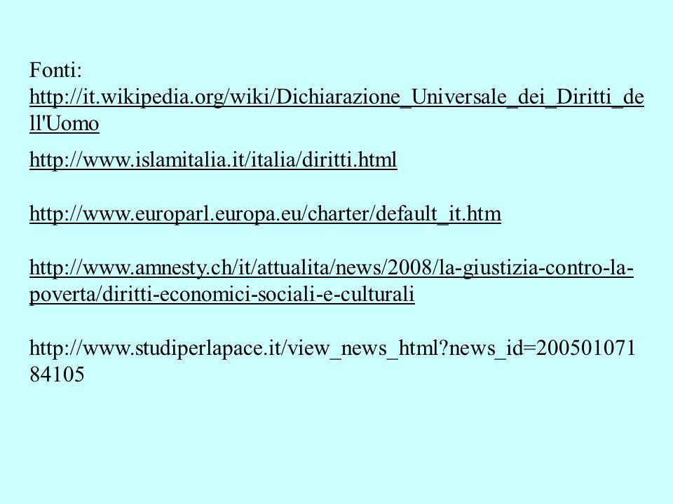 Fonti: http://it.wikipedia.org/wiki/Dichiarazione_Universale_dei_Diritti_de ll Uomo. http://www.islamitalia.it/italia/diritti.html.