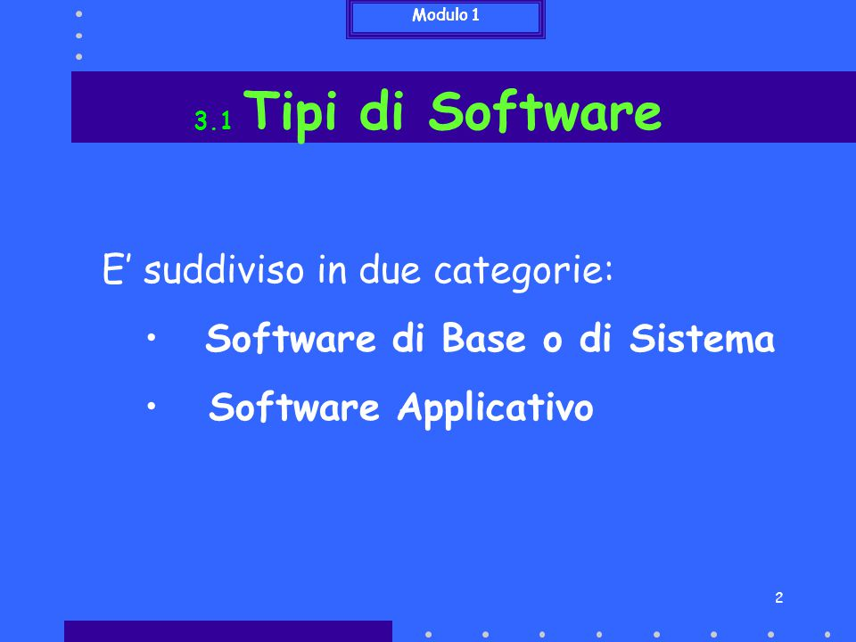 E' suddiviso in due categorie: Software di Base o di Sistema