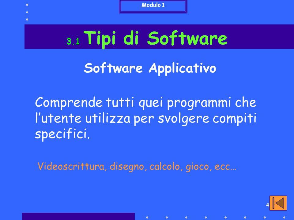 Modulo 1 3.1 Tipi di Software. Software Applicativo. Comprende tutti quei programmi che l'utente utilizza per svolgere compiti specifici.