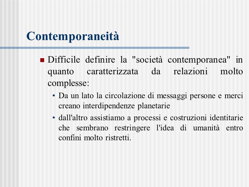 Contemporaneità Difficile definire la società contemporanea in quanto caratterizzata da relazioni molto complesse: