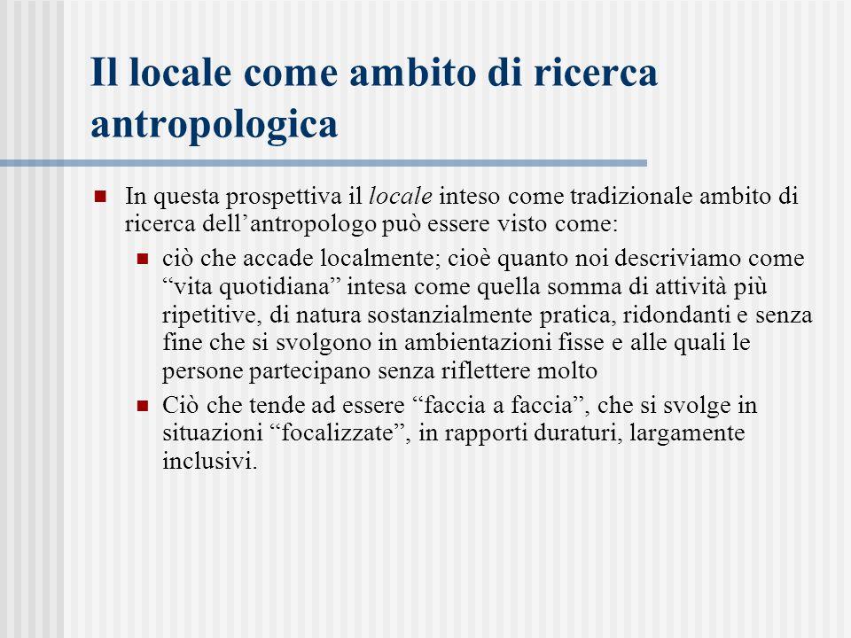 Il locale come ambito di ricerca antropologica