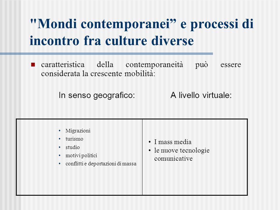 Mondi contemporanei e processi di incontro fra culture diverse