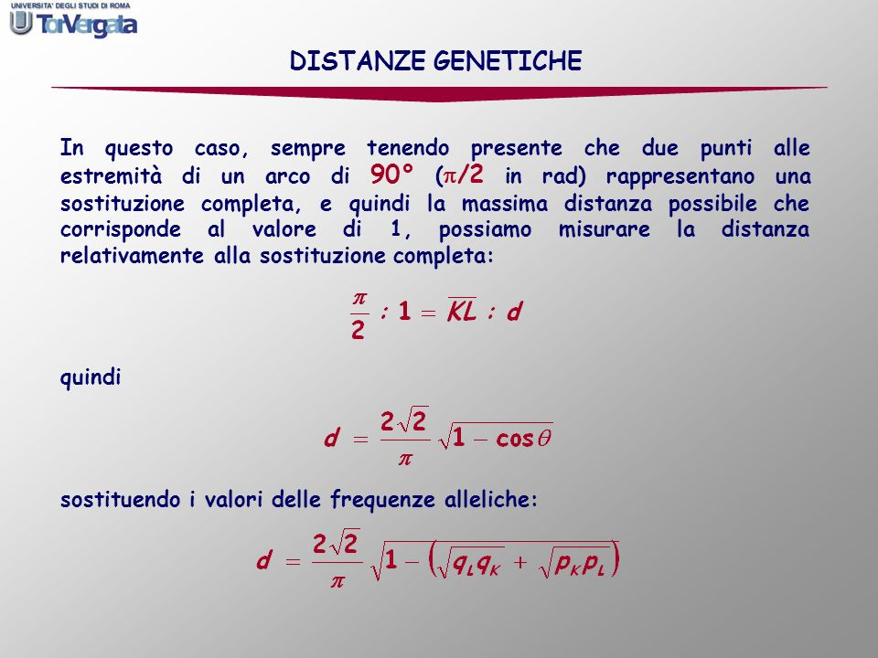 DISTANZE GENETICHE