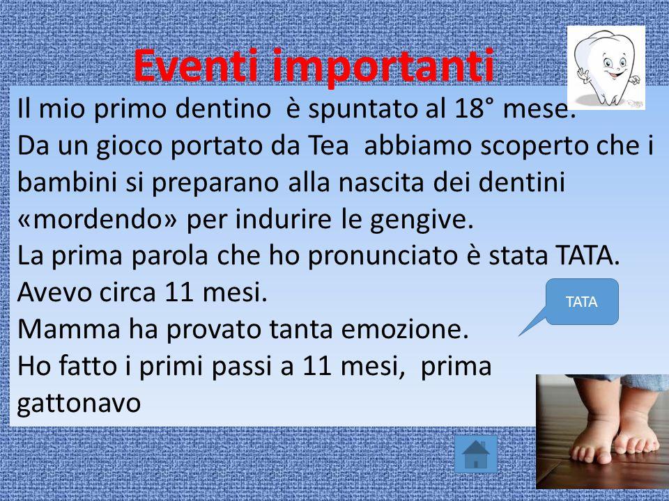 Eventi importanti Il mio primo dentino è spuntato al 18° mese.