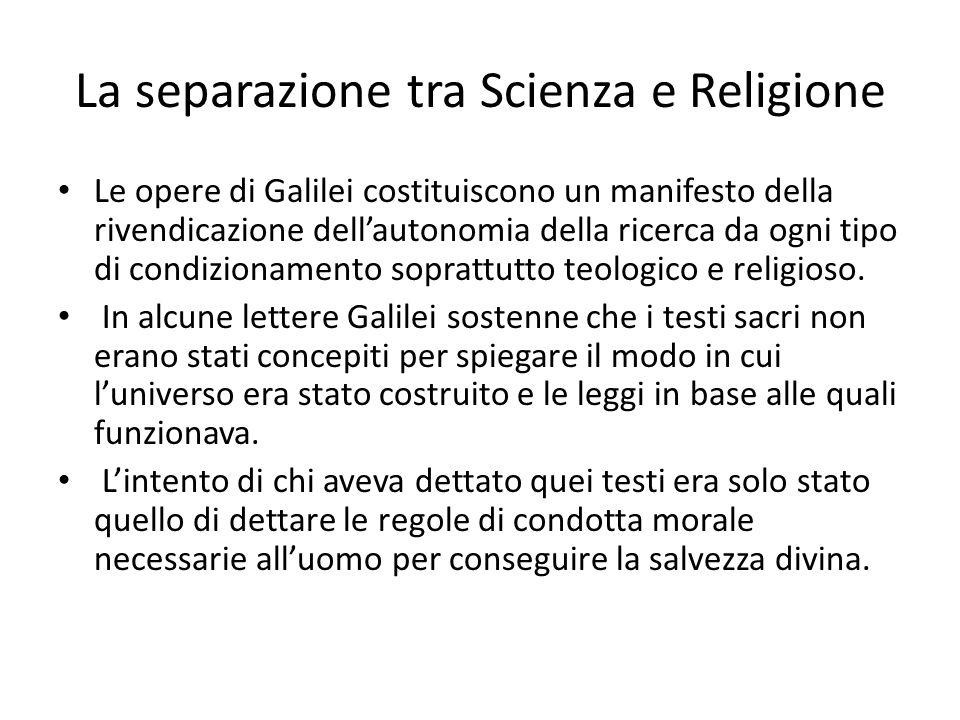 La separazione tra Scienza e Religione