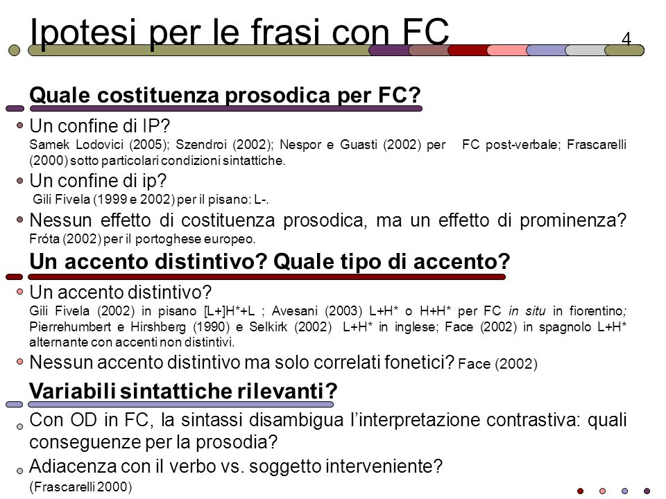 Ipotesi per le frasi con FC