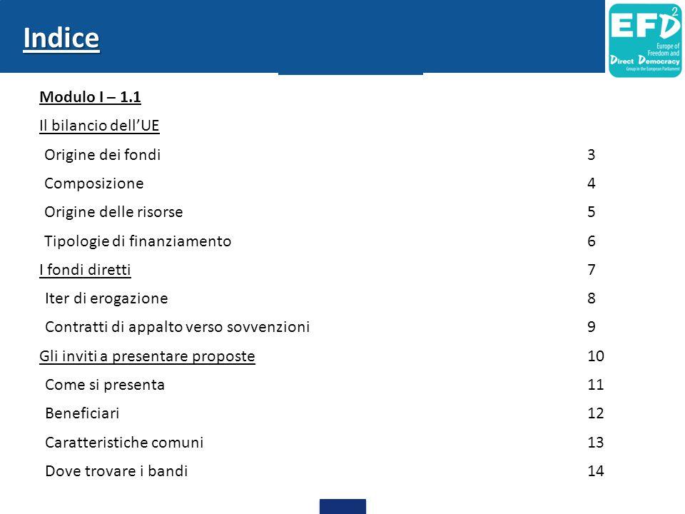 Indice Modulo I – 1.1 Il bilancio dell'UE Origine dei fondi 3