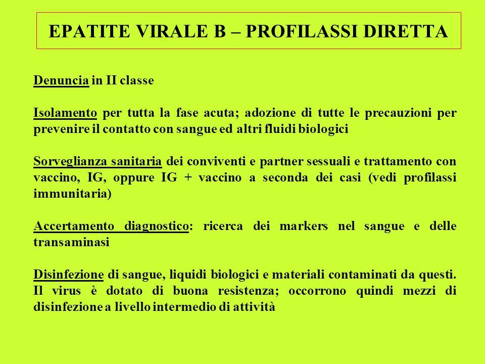 EPATITE VIRALE B – PROFILASSI DIRETTA