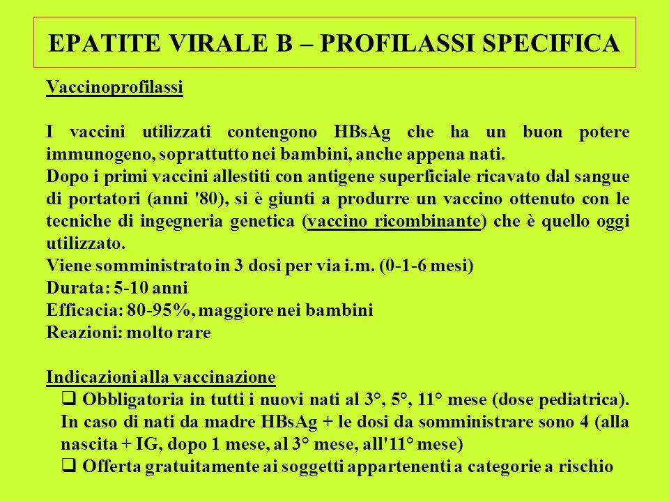 EPATITE VIRALE B – PROFILASSI SPECIFICA