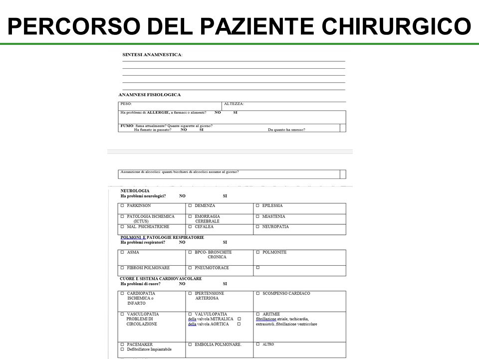 PERCORSO DEL PAZIENTE CHIRURGICO