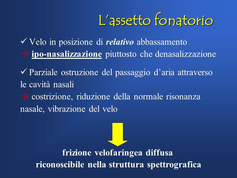 L'assetto fonatorio Velo in posizione di relativo abbassamento