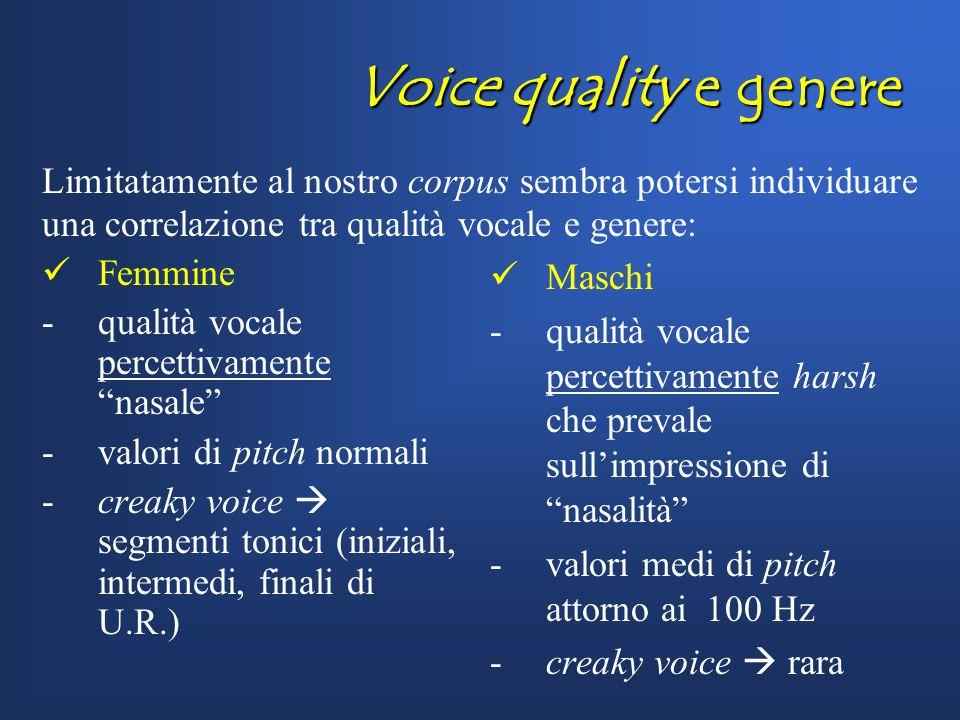 Voice quality e genere Limitatamente al nostro corpus sembra potersi individuare una correlazione tra qualità vocale e genere: