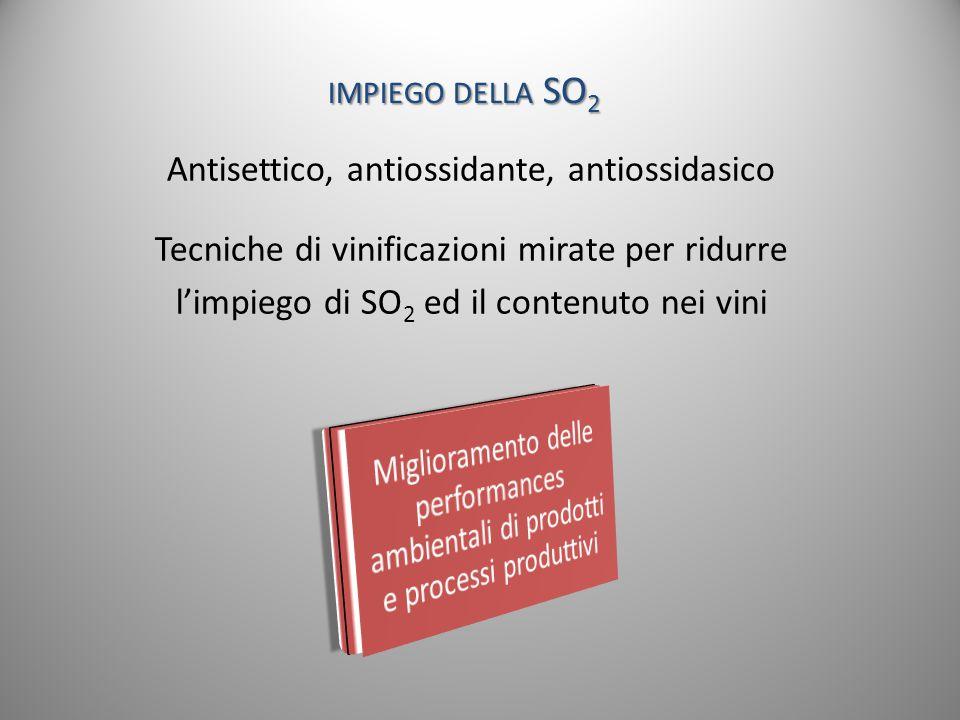 impiego della SO2 Antisettico, antiossidante, antiossidasico
