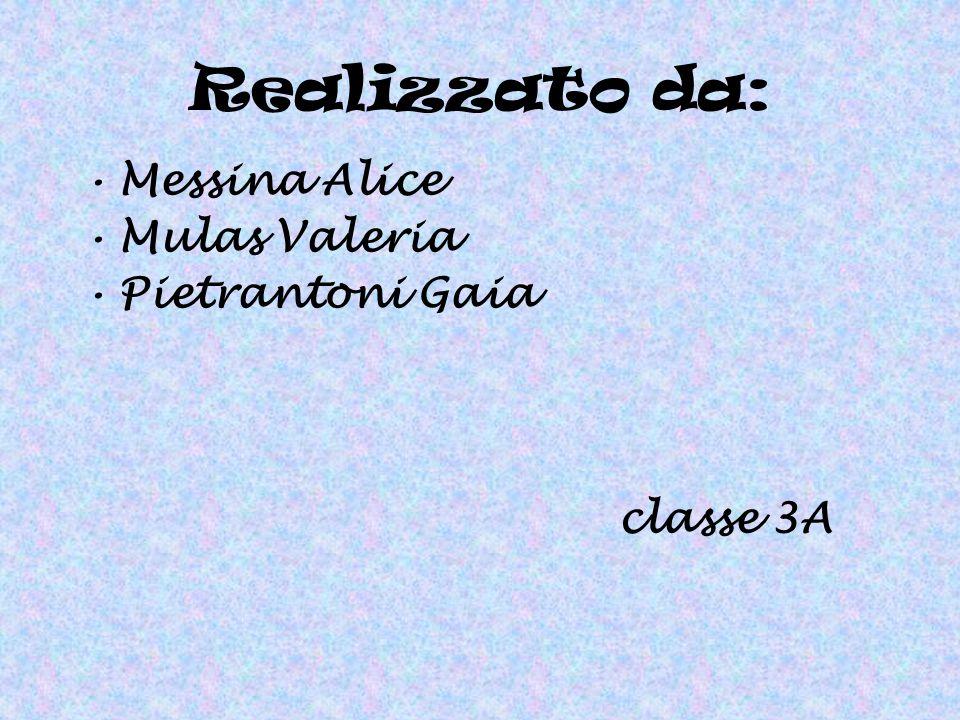 Realizzato da: Messina Alice Mulas Valeria Pietrantoni Gaia classe 3A